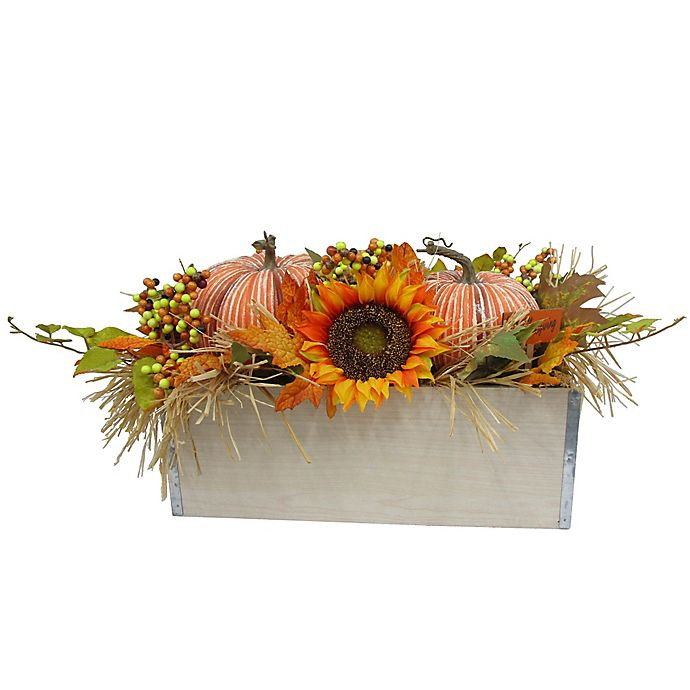 Alternate image 1 for Wooden Box with Pumpkin and Floral 24-Inch Table Piece in Orange/Green