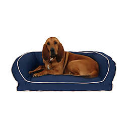 Carolina Pet Memory Foam Bolster Large/Extra Large Pet Bed w/ Contrast Piping in Blue