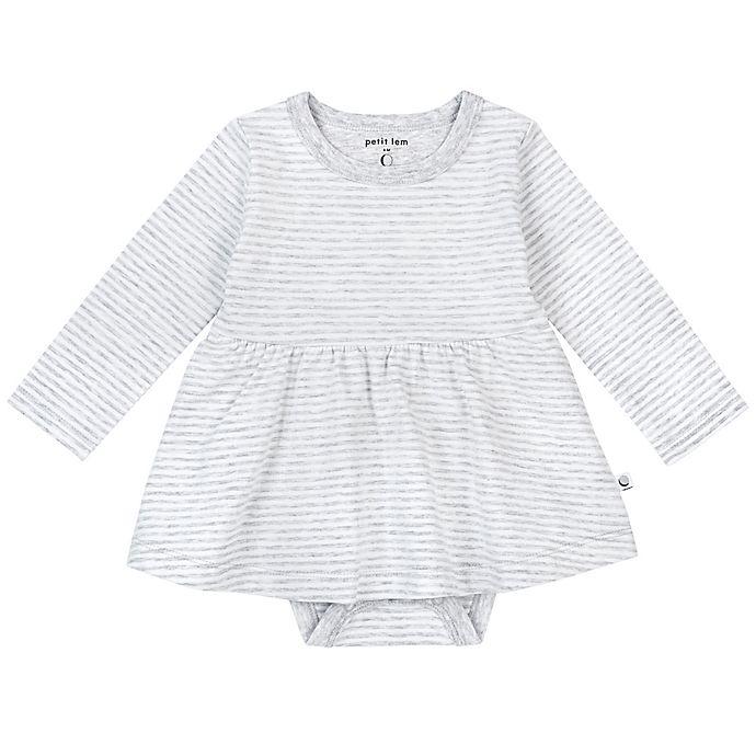 Alternate image 1 for Petit Lem™ Newborn Organic Cotton Long Sleeve Bodysuit Dress in Grey