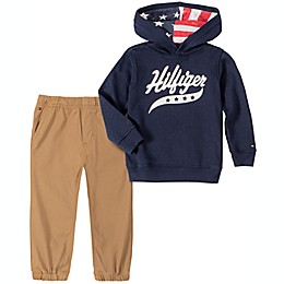 Tommy Hilfiger® 2-Piece Fleece Hooded Top and Pant Set in Navy