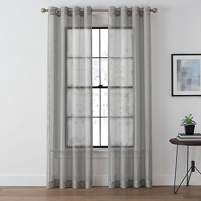 Alternate image 1 for Brookstone® Harris Grommet Sheer Window Curtain Panel in Platinum