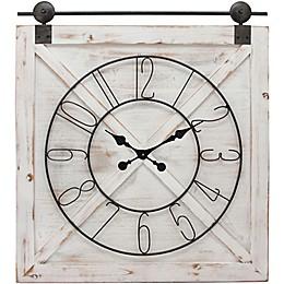 FirsTime® Farmstead 27-Inch Barn Door Wall Clock in White
