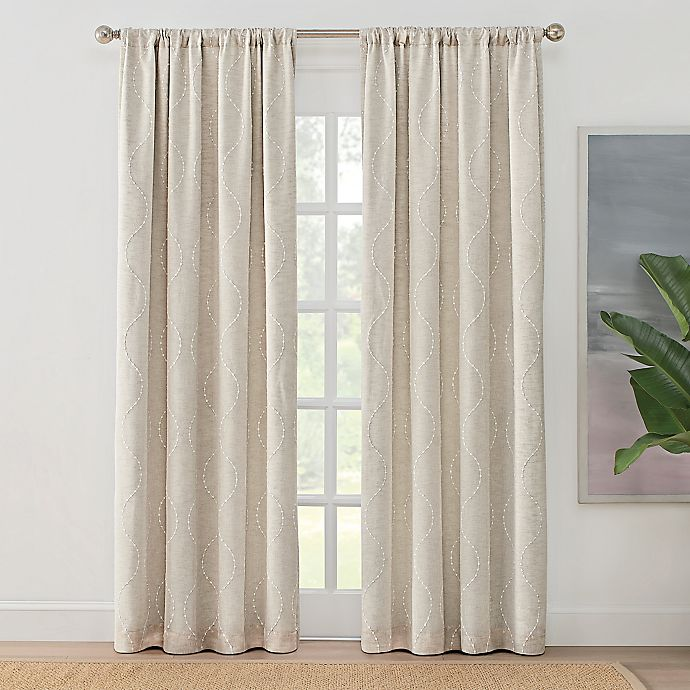 Alternate image 1 for Brookstone® Zoey Rod Pocket 100% Blackout Embroidered Window Curtain Panel