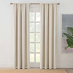 Brookstone®  Zoey Solid 84-Inch Rod Pocket 100% Blackout Window Curtain Panel in Linen