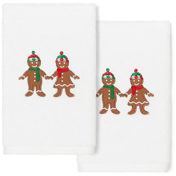 Alternate image 1 for Linum Home Textiles Christmas Gingerbread Hand Towels in White (Set of 2)