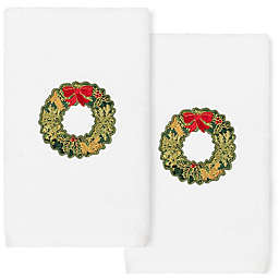 Linum Home Textiles Christmas Wreath Hand Towels in White (Set of 2)