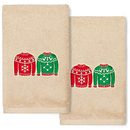 Linum Home Textiles Christmas Sweaters Hand Towels in Sand (Set of 2)