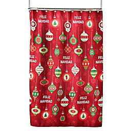 Feliz Navidad Shower Curtain and Hooks Set in Red