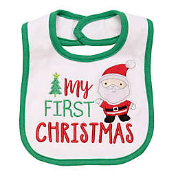 "Baby Starters® ""My First Christmas"" Santa Embroidered Bib in White"