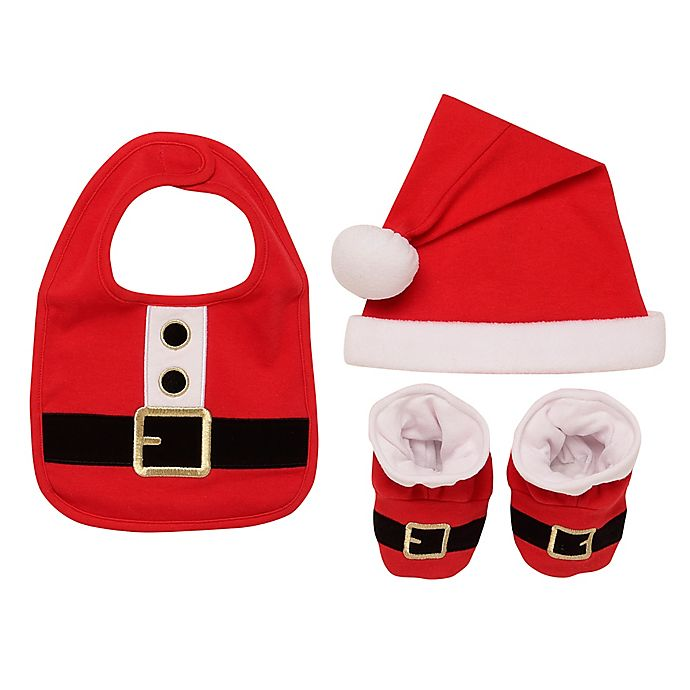 Alternate image 1 for Baby Starters® 3-Piece Santa Bib, Hat, and Booties Set in Red