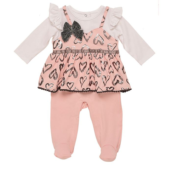 Alternate image 1 for Baby Starters® Flounce Footie in Pink