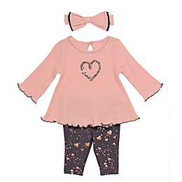 Baby Starters® 3-Piece Heart Swing Top, Legging and Headband Set in Pink
