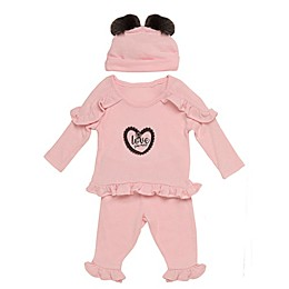 Baby Starters® 3-Piece Love Hacci Top, Pant, and Hat Set in Pink