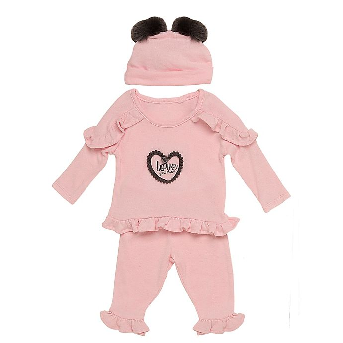 Alternate image 1 for Baby Starters® 3-Piece Love Hacci Top, Pant, and Hat Set in Pink