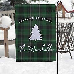 Christmas Plaid Personalized Garden Flag