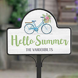 Hello Summer Floral Bicycle Personalized Magnetic Garden Sign