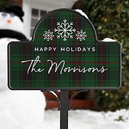 Christmas Plaid Personalized Magnetic Garden Sign