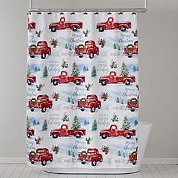 Holiday Trucks Shower Curtain and Hooks Set
