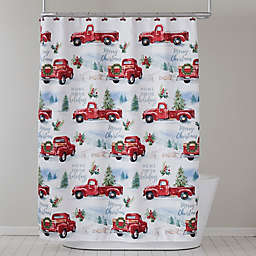 Holiday Trucks Shower Curtain and Hooks Set