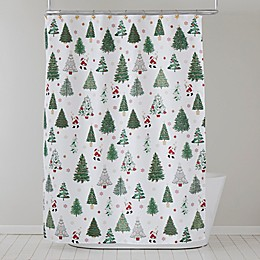 Santa's Trees Shower Curtain and Hooks Set