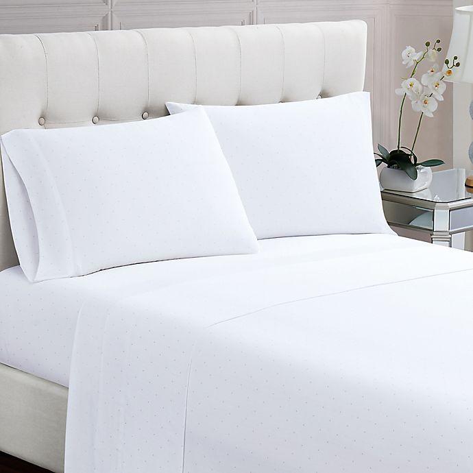 Alternate image 1 for Charisma® Dot 200-Thread-Count King Sheet Set in White