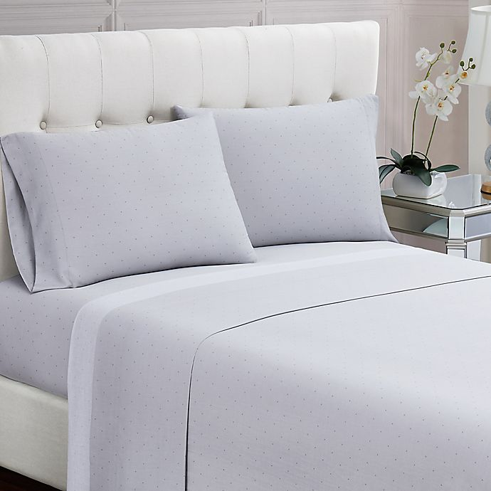 Alternate image 1 for Charisma® Dot 200-Thread-Count Queen Sheet Set in Grey