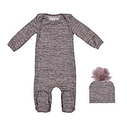 HannaKay by Manière Sweater Knit Footie and Hat in Pink