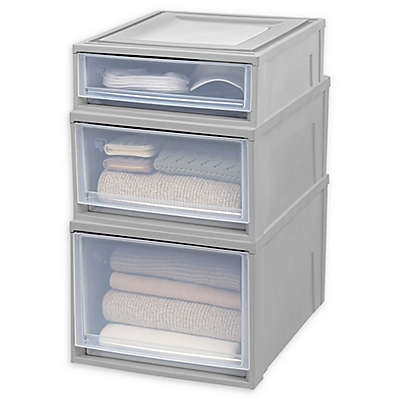IRIS® Shallow Box Chest Drawer in Grey/Clear