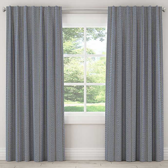 Alternate image 1 for Skyline Furniture Broken Twill 63-Inch Rod Pocket/Back Tab Window Curtain Panel in Navy