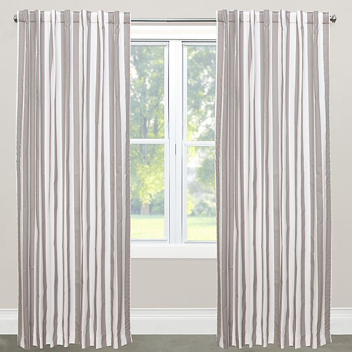 Alternate image 1 for Skyline Furniture Canopy Stripe 63-Inch Rod Pocket/Back Tab Window Curtain Panel in Grey