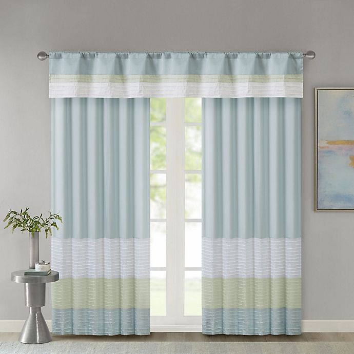 Alternate image 1 for Madison Park Amherst Window Curtain Panel and Valance in Green