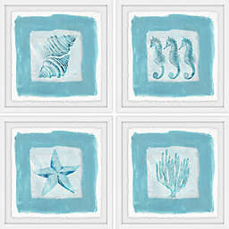 Marmont Hill Sea Life Blue Square Framed Quadriptych Wall Art