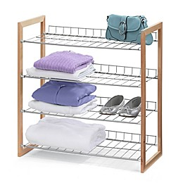 Honey-Can-Do® 4-Tier Storage Shelf in Wood/Silver