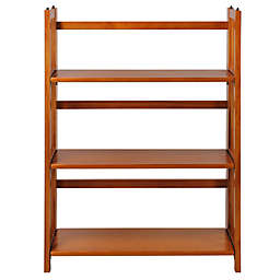 3-Shelf Folding Stackable 27.5-Inch Wide Bookcase in Oak