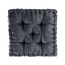 Intelligent Design Azza Poly Chenille Square Indoor Floor Pillow Cushion in Charcoal