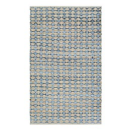 Couristan Nature's Elements Nautical Ripples Area Rug in Wheat/Denim