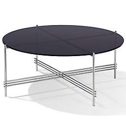 Modus Furniture Cedric Smoked Glass Coffee Table in Mocha