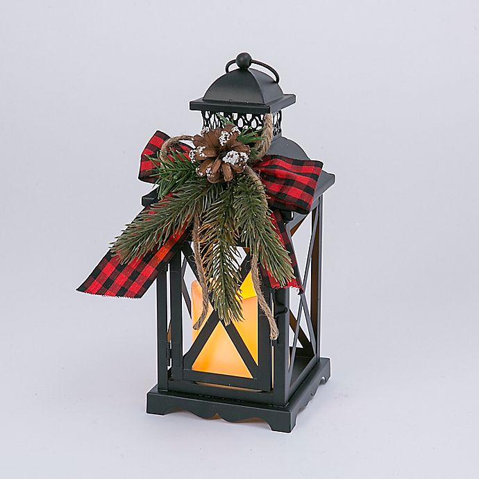 Alternate image 1 for LED Holiday Lanterns in Black (Set of 2)