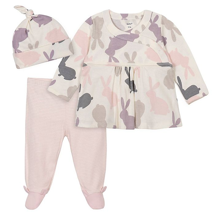 Alternate image 1 for Gerber® 3-Piece Bunny Shirt, Footed Pant, and Cap Set in Pink