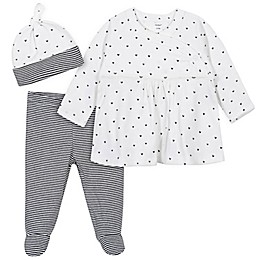 Gerber® 3-Piece Polka Dot Shirt, Footed Pant, and Cap Set in Black/White