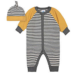 Gerber® 2-Piece Striped Coverall and Cap Set in Black/Gold