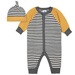 Gerber® Newborn 2-Piece Striped Coverall and Cap Set in Black/Gold