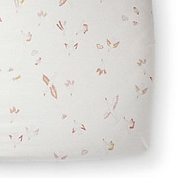 pehr Birds of a Feather Organic Cotton Fitted Crib Sheet in Pink