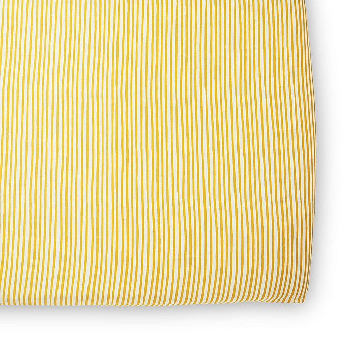 Alternate image 1 for pehr Stripes Away Organic Cotton Fitted Crib Sheet in Marigold