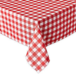 Design Imports Check 60-Inch x 120-Inch Oblong Tablecloth with Umbrella Hole and Zipper in Red