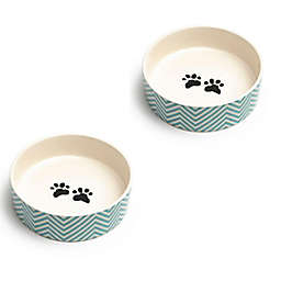 Park Life Designs Alto Pet Food Bowls in Turquiose/White (Set of 2)