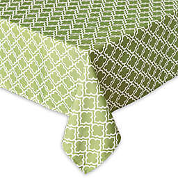 Design Imports Lattice 60-Inch x 120-Inch Tablecloth with Umbrella Hole and Zipper in Green