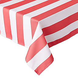 Design Imports Cabana Stripe 60-Inch x 84-Inch Indoor/Outdoor Tablecloth in Coral
