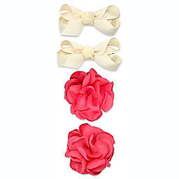 Khristie® 4-Pack Grosgrain Bow and Flower Hair Clips