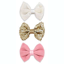 Khristie® 3-Pack Corduroy and Sequin Vintage Bow Hair Clips